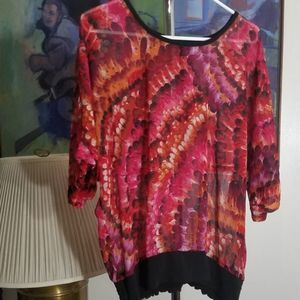 Red Feather Print Chiffon Plus Top Size 0X